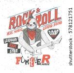 animal music. drawing sloth.... | Shutterstock .eps vector #578121751