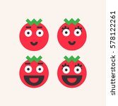 smiling tomato. funny tomatoes... | Shutterstock .eps vector #578122261