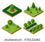 set isometric 3d trees forest ... | Shutterstock .eps vector #578122381