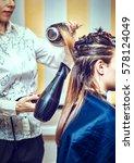 professional hairdresser drying ... | Shutterstock . vector #578124049