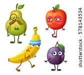 funny fruit characters isolated ... | Shutterstock .eps vector #578143534