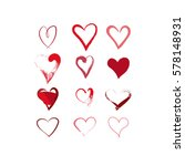 Hand Drawn Hearts Set. Red...