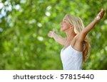 beautiful girl outdoors feeling ... | Shutterstock . vector #57815440