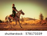 costume of the turks and horse... | Shutterstock . vector #578173339