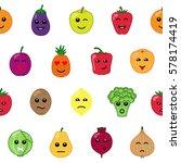 emotional vegetables and fruit... | Shutterstock .eps vector #578174419