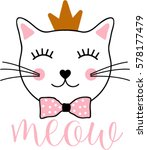 Stock vector cat graphic for t shirt 578177479