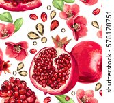 pomegranate fruit and glass... | Shutterstock .eps vector #578178751
