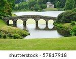 landscape garden with bridge...   Shutterstock . vector #57817918