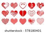 set of vector valentine heart... | Shutterstock .eps vector #578180401