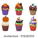 cupcake happy halloween scary... | Shutterstock .eps vector #578182555