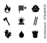 fire fighter icon set on white...   Shutterstock .eps vector #578184925