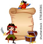 pirate  parrot  treasure chest... | Shutterstock .eps vector #578185081