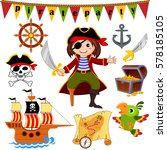 pirate icon set. pirate  parrot ... | Shutterstock .eps vector #578185105