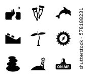 nature icon. set of 9 nature... | Shutterstock .eps vector #578188231