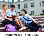 group students outside sitting...   Shutterstock . vector #57818932