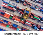 container ship in export and... | Shutterstock . vector #578195707