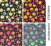 cute floral seamless pattern set - stock vector