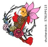 hand drawn koi fish with flower ... | Shutterstock .eps vector #578199115