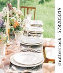 wedding decorated table   Shutterstock . vector #578205019