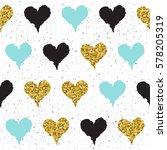 doodle heart seamless... | Shutterstock . vector #578205319