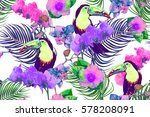 tropical flowers  palm leaves ... | Shutterstock .eps vector #578208091