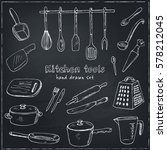 doodle kitchen tool collection  ... | Shutterstock .eps vector #578212045