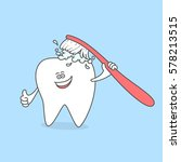 tooth with a toothbrush and... | Shutterstock .eps vector #578213515