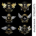 set of vector vintage emblems... | Shutterstock .eps vector #578214571