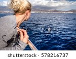 whale watch  whale playing in... | Shutterstock . vector #578216737