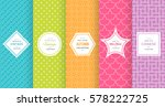 Cute bright seamless pattern background. Vector illustration bright design. Abstract geometric frame. Stylish decorative label set. Pale light color. Colorful geometric ornament. Feminine baby style | Shutterstock vector #578222725