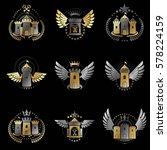 ancient castles emblems set.... | Shutterstock .eps vector #578224159