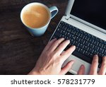 female hands on a computer and... | Shutterstock . vector #578231779