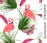 tropical bird pink flamingo ... | Shutterstock .eps vector #578236939