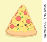 cute pizza slice food vector... | Shutterstock .eps vector #578242585