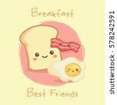 cute breakfast food bacon ... | Shutterstock .eps vector #578242591