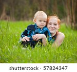 happy mother with her son on...   Shutterstock . vector #57824347