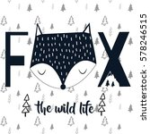 fox typography and pattern... | Shutterstock .eps vector #578246515