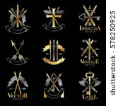 vintage weapon emblems set.... | Shutterstock .eps vector #578250925