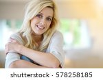 blond woman with blue eyes... | Shutterstock . vector #578258185