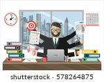 business man surrounded by... | Shutterstock .eps vector #578264875