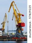 yellow cranes in the port... | Shutterstock . vector #57829225