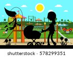 kid's playground in park with... | Shutterstock .eps vector #578299351
