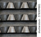 Small photo of Stack of raw aluminum ingots in aluminum profiles factory, France