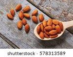 Almonds On Wooden Backdrop....