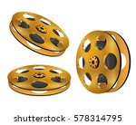 three golden film reel. | Shutterstock .eps vector #578314795