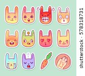 set of bunny heads with... | Shutterstock .eps vector #578318731