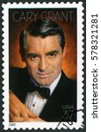 Small photo of MOSCOW, RUSSIA - FEBRUARY 10, 2017: A stamp printed in USA shows Cary Grant born Archibald Alexander Leach (1904-1986), actor, 2002