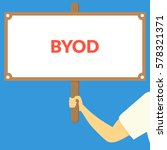 byod. hand holding wooden sign | Shutterstock .eps vector #578321371