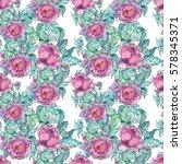 watercolor peonies bouquet over ... | Shutterstock . vector #578345371