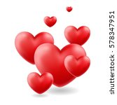 group of glossy hearts flying... | Shutterstock .eps vector #578347951